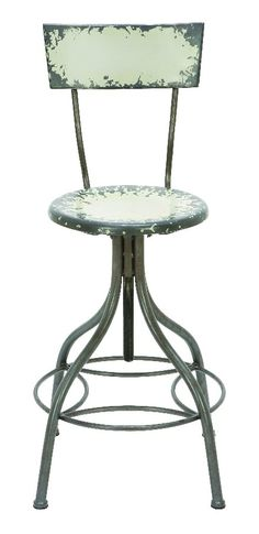 Vintage Metal Bar Chair Round Seat High Back Support White Home Kitchen D | lamp | lighting, furniture | accents, home decor | accessories, wall decor, patio | garden, Rugs, seasonal decor,garden decor, furniture decor and accents
