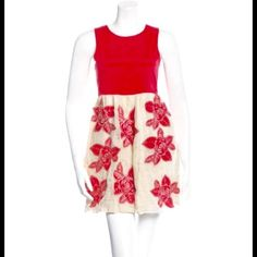 Alice+Olivia Silk Embroidered Dress