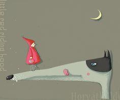 Piroska és a farkas, éhes farkas, megbabonázott Piroska gurul a vesztébe