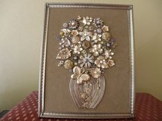 One-of-a-Kind Framed Vintage Jewelry Art Vase by JewelArtbyLinda