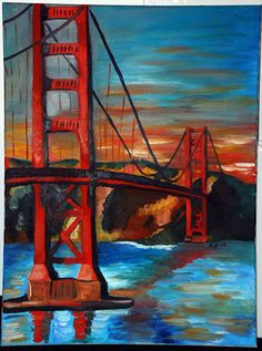 Golden Gate Bridge Original Painting by WeTheEarth on Etsy, $300.00
