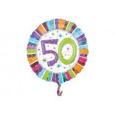"""Czy na 50 urodziny można wręczyć balon?   Oczywiście, że tak:) Niezależnie od wieku to zawsze oryginalny prezent urodzinowy:)   Zrób niespodziankę urodzinową na okrągłe, pięćdziesiąte urodziny - balon nadaje się zarówno na urodziny mężczyzny jak i kobiety!  Balon unosi się w powietrzu przez około 2 tygodnie.  Wymiar balonu: 19"""" czyli 47cm.  #balon50 #balonzhelem #balonyhelowe #zabawki #niczc"""