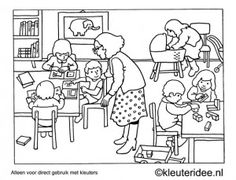Kleurplaat ik de klas, kleuteridee , Preschool coloring, in the classroom.