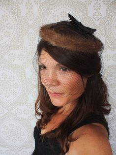 Vintage 1950's Mink Halo Hat with Black Netting by pursuingandie, $34.00