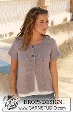 "DROPS jacket with raglan in ""Silke Alpaca"". Size S - XXXL. ~ DROPS Design"