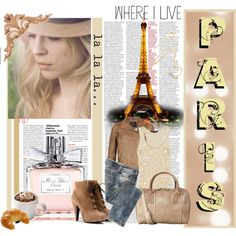 taupe leather crop jacket, sequin cream top, matching taupe ankle boots and bag Polyvore