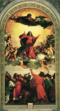 Assumption of the Virgin (1516–1518) was the first major commission of Renaissance master Titian in Venice.The painting is an Oil on panel which was important in establishing Titian's popularity in Venice. The painting is currently housed in the Basilica di Santa Maria Gloriosa dei Frari, Venice.
