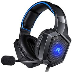 RUNMUS Gaming Headset Gaming Headphones Compatible with Xbox One (Adapter Needed), Nintendo Switch Etc. PC Gaming Headset with Stereo Surround Sound, LED Lighting & Noise Canceling Microphone Xbox One Headset, Best Gaming Headset, Gaming Headphones, Wireless Headphones, Over Ear Headphones, Bluetooth, Playstation, Xbox Pc, Tecnologia