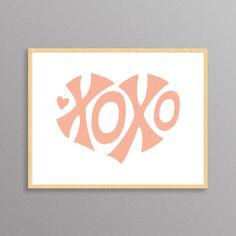 XOXO Heart  a modern design print // 8.5x11 or by finkastudio