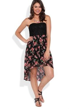 Deb Shops Strapless High Low Dress with Floral Skirt and Lace Back $31.50