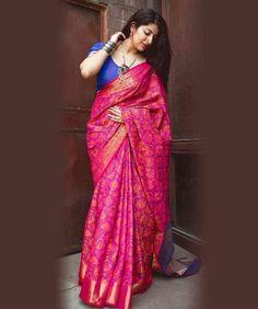 Buy Awe-Inspiring Bright Pink Pallu Border Saree Set For Indian Skin Pink Saree Silk, Blue Saree, Art Silk Sarees, Indian Bridal Sarees, Indian Beauty Saree, Designer Sarees Online, Designer Dresses, Saree Trends, Saree Models