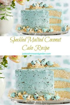 Speckled Malted Coconut Cake Recipe - perfect for Easter parties, brunch and dinner! Holiday Desserts, Holiday Treats, Spring Desserts, Food Cakes, Cupcake Cakes, Cake Recipes, Dessert Recipes, Dip Recipes, Brunch Recipes