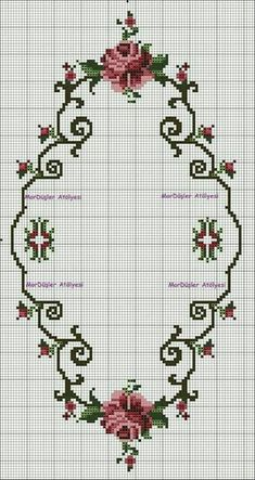 This post was discovered by ne Cross Stitch Borders, Cross Stitch Rose, Modern Cross Stitch, Cross Stitch Flowers, Cross Stitch Charts, Cross Stitch Designs, Cross Stitching, Cross Stitch Patterns, Ribbon Embroidery