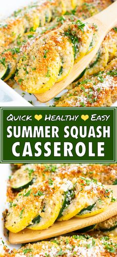 A healthy squash casserole recipe that is made with yellow squash, zucchini, a crunchy breadcrumb and Parmesan topping and then baked in the oven to crispy perfection! This easy summer squash and zucchini casserole is a wonderful side dish casserole recip Zucchini Squash Casserole, Summer Squash Casserole, Recipe For Squash Casserole, Yellow Squash Recipes, Yellow Squash And Zucchini, Squash Zucchini Recipes, Gluten Free Zucchini Recipes, Summer Squash Recipes, Tartiflette Recipe