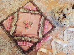 antique silk handkerchief case with ribbonwork