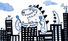 Un dinosaurio destruyendo la ciudad