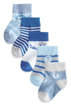 Buy Five Pack Blue Car Monkey Socks (0-18mths) from the Next UK online shop