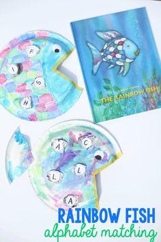 Rainbow Fish Alphabet Matching Craft Alphabet Activities, Kindergarten Activities, Book Activities, Feelings Activities, Preschool Alphabet, Preschool Art, Preschool Learning, Educational Activities, Teaching Art