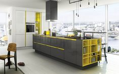 Black and yellow modern kitchens with stylish storage cabinets