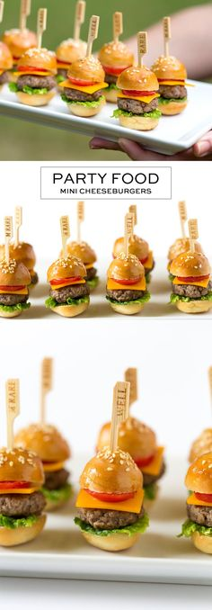 Perfect Party Food: How to Make Mini Cheeseburgers (tapas recipes party finger foods) Mini Appetizers, Appetizer Recipes, Party Recipes, Birthday Appetizers, Healthy Appetizers, Brunch Appetizers, Appetizer Party, Dinner Recipes, Sandwich Recipes