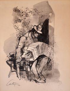 """CASTAGNINO, Juan Carlos Argentino 1908-1972 """"BANDONEON"""" Dibujo a tinta. Firmado CASTAGNINO y fechado """"63"""" abajo a la izquierda. Medidas: 67 x 53 cm"""