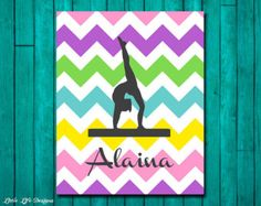 Gymnastics Girl with Name Wall Decal Personalized by VinylWritten