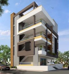 New apartment facade architecture small Ideas Modern Apartment Design, Duplex House Design, House Front Design, Modern House Design, Facade Architecture, Residential Architecture, Cool Apartments, Facade House, Building Design