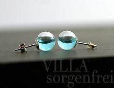 NEW: Sterling WATER stud earrings. 925 sterling by VillaSorgenfrei
