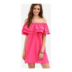 SheIn(sheinside) Hot Pink Off The Shoulder Ruffle Shift Dress ($18) ❤ liked on Polyvore featuring dresses, hot pink, off the shoulder dress, short-sleeve dresses, flutter sleeve dress, short sleeve dress and shift dresses