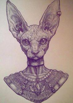 Facebook Sphynx Cat Tattoo, Hybrid Art, Egypt Tattoo, Sphinx Cat, Tattoo Themes, Leg Tattoo Men, Demon Art, Desenho Tattoo, Sad Art