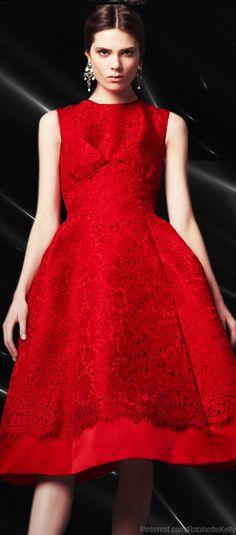 Dolce & Gabbana | Lace Application Red Duchesse Dress