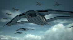 Kick ass concept of an aerial aircraft carrier.