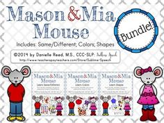 Mason & Mia Mouse Pre-K series has been bundled together! This bundle includes all current Mason & Mia products: Same/Different, Colors, Shapes  33% savings compared to buying each product individually!