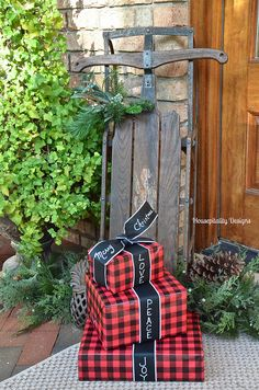 Gift wrapping ideas - Love the chalkboard ribbon and Buffalo check paper! Housepitality Designs