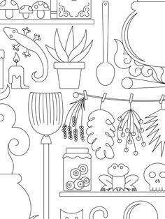 """""""El laboratorio de la bruja"""" Disponible para colorear en https://chocolateillustration.com/ilustraciones/el-laboratorio-de-la-bruja/ . Este es un trocito de la ilustración que puedes descargarte para crear tu pieza única. #chocolateillustration #dibujosparapintar #colorear #yocoloreo #analinea #ellaboratoriodelabruja"""