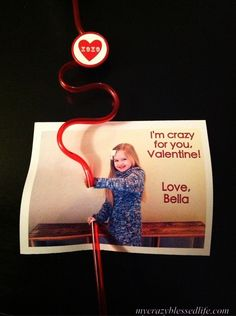Cute Valentine's card idea...3D picture with straw