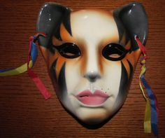 Vintage About Face Cat Woman / Lady Ceramic Mask by Clay Art