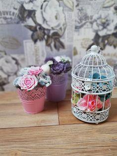 dekorativna vtacia klietka, mydlove kytice