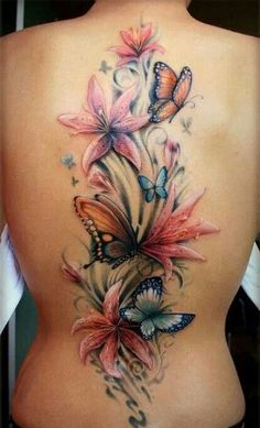 I love this floral butterfly tattoo--it's so ... | Amazing tattoo art…