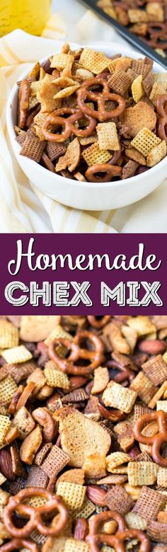This Homemade Chex Mix is crunchy, buttery and full of flavor this easy party mix is the perfect snack for holiday entertaining!