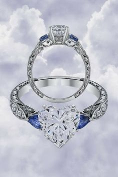 Heart Shape diamond Engagement Ring Blue Sapphire Pear side stones Hand engraved