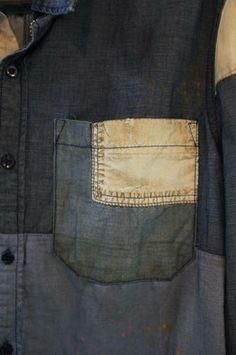 Denim shirt | White patch | Stitch detail | Repair block | Mending | Seazon