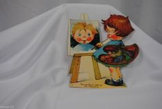 vtg valentine card USA standup cardboard mechanical girl painting picture