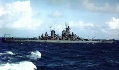 A rare World War II color photo of USS New Jersey (BB-62) with the Pacific fleet, around early 1945.