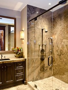 Stunning Bathroom Interior Design with Creative Ideas: Awesome Modern Bathroom Marble Shower Backsplash Bathroom Projects Small Bathroom Redo, Small Bathroom Renovations, Bathroom Renos, Modern Bathroom, Bathroom Marble, Basement Bathroom, Dream Bathrooms, Beautiful Bathrooms, Bathroom Interior Design