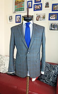 Grey and blue tartan made to measure suit. Fabric by Lanificio Fratelli Cerruti Made To Measure Suits, Bespoke Suit, Tailored Suits, Sport Coat, Gabriel, Blazer Jacket, Tartan, Blazers, Coats