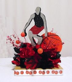 Basketball Free Throw Centerpiece kits for sports theme parties, bar mitzvah, banquets and special event table decorations. Order in your team colors. Bar Mitzvah Centerpieces, Sports Centerpieces, Banquet Centerpieces, Centerpiece Decorations, Graduation Centerpiece, Graduation Decorations, Graduation Ideas, Basketball Birthday Parties, Party Themes
