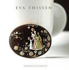 Handmade Polymer Clay Brooch by Eva Thissen.