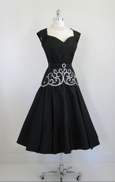 1950's black taffeta cocktail dress...sequins and pearls!