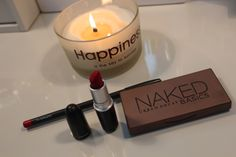 happiness #happiness #makeup #mac #maccosmetics #nakedbasics #rubywoo #urbandecay #quote #vanity #girly